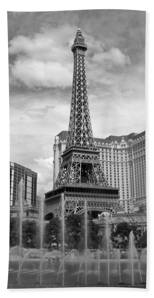 Paris Hotel Beach Towel featuring the photograph Paris Hotel - Las Vegas B-w by Anita Burgermeister