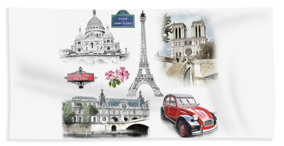 Paris Beach Towel featuring the digital art Paris Landmarks. Illustration In Draw, Sketch Style. by Cranach Studio