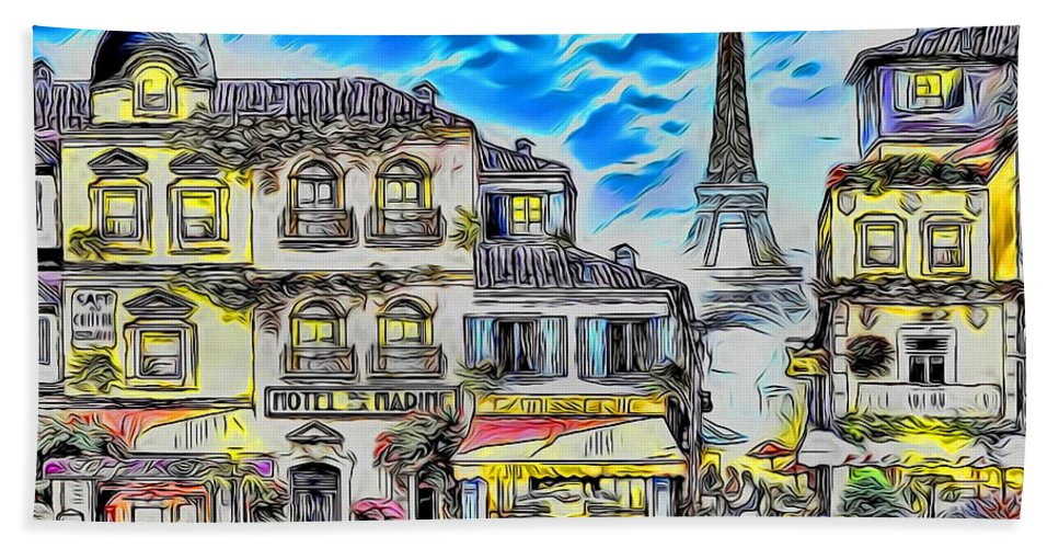 Paint Beach Towel featuring the painting Paris Street Abstract 3 by Nenad Vasic