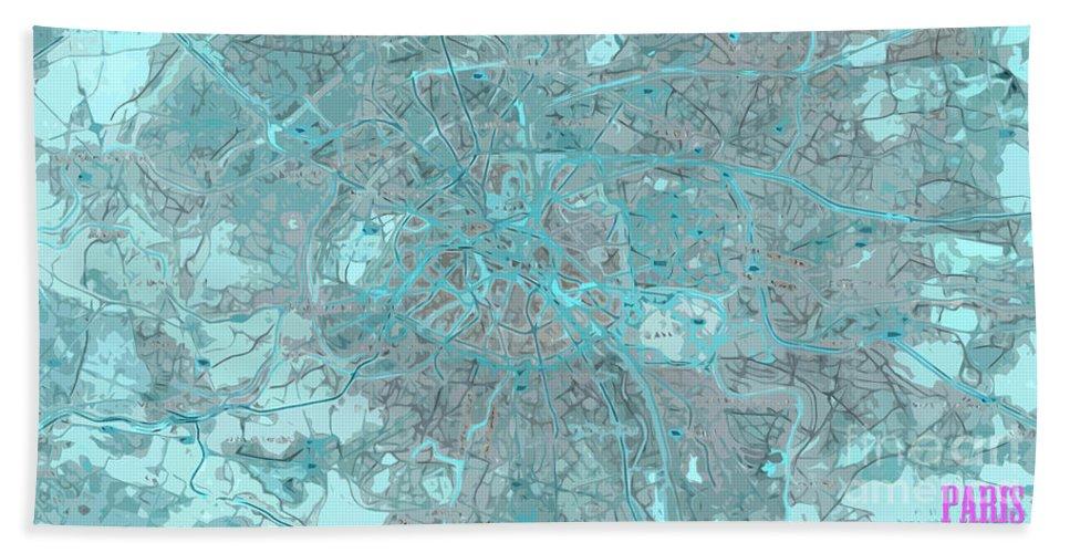 Paris Beach Towel featuring the digital art Paris Traffic Abstract Blue Map by Drawspots Illustrations