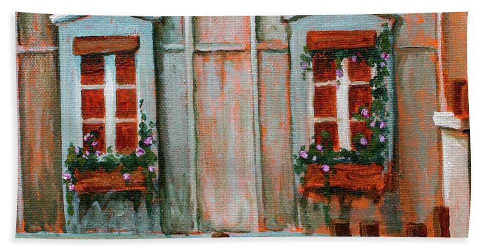 Acrylic On Canvas Beach Towel featuring the painting Paris Windows by Jennifer McDuffie