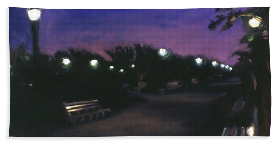 Dusk Beach Towel featuring the painting Park At Dusk by Sarah Yuster