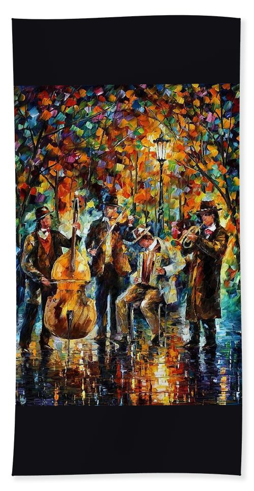 Afremov Beach Towel featuring the painting Park Band by Leonid Afremov