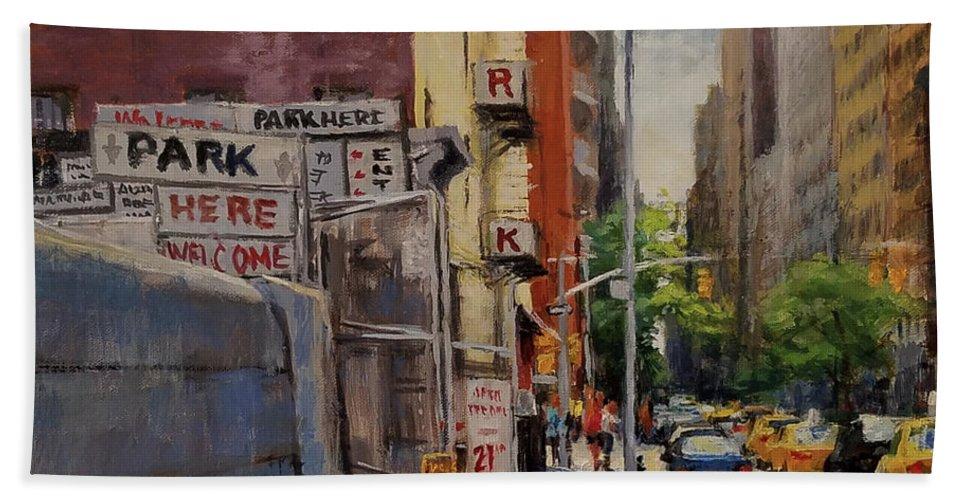 Manhattan Beach Sheet featuring the painting Park Here by Peter Salwen