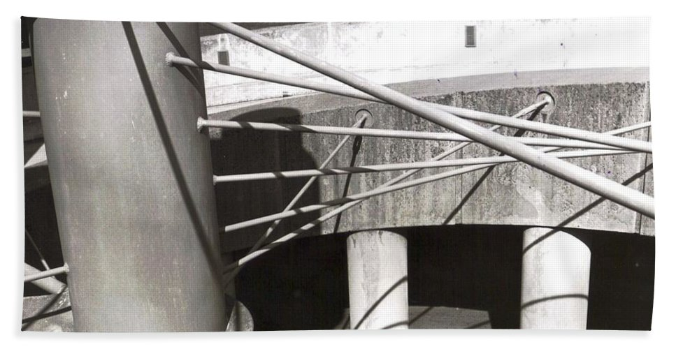 Black And White Photograph Beach Towel featuring the photograph Parking Garage by Thomas Valentine