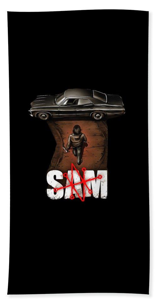 Sam Beach Towel featuring the digital art Parody by Norwe Gijat