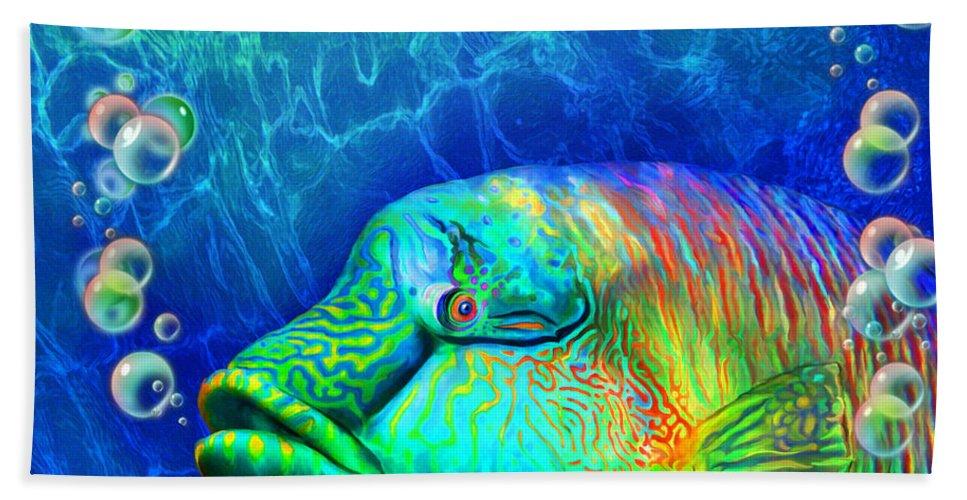 Carol Cavalaris Beach Towel featuring the mixed media Parrotfish - Rainbow Spirit by Carol Cavalaris