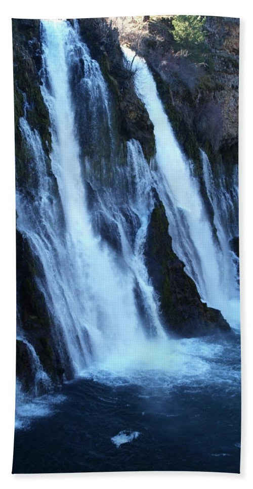 Water Beach Towel featuring the photograph Partial Side View Of Burney Falls Ca by Teri Schuster