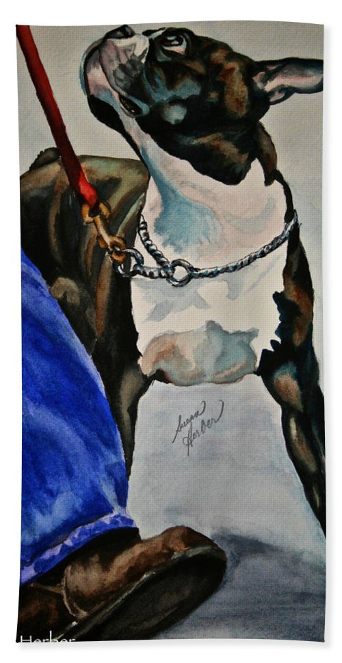 Boston Terrier Beach Towel featuring the painting Partners by Susan Herber
