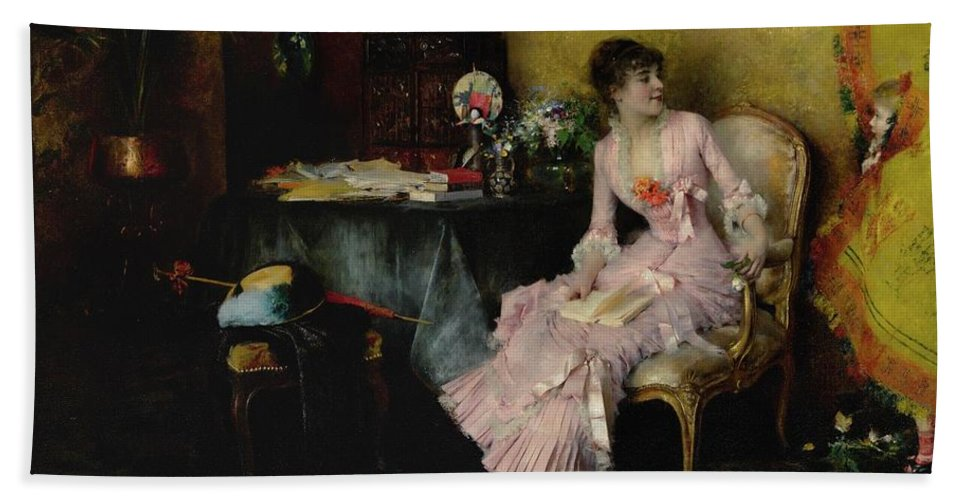 Girl Beach Towel featuring the painting Pascal Adolphe Jean Dagnan-bouveret 1852 - 1929  Woman In Pink With Child by Artistic Rifki