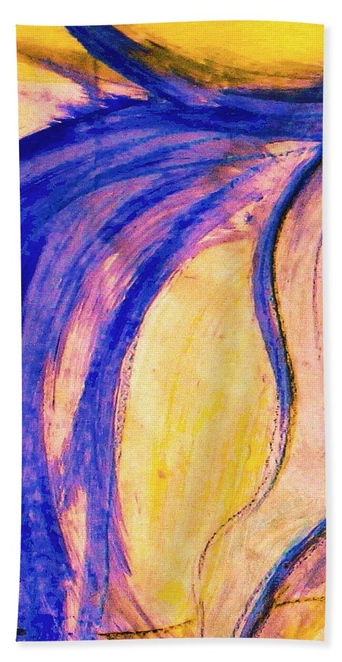 Dressage Dancing Horse Abstract Mixed Media Pirouette Equine Expression Extension Freedom Grand Prix Music Racing Racehorse Impulsion Lipizzaner Musical Freestyle Lightness Majestic Passage Piaffee Pura Raza Espanola Quarterhorse Thoroughbred Arabian Andalusian Balance Cadence Canter Dutch Warmblood Show Jumping Spanish Sporthorse Strength Submission Trakehner Transitions Westphalian Colorful Animal Whimsical Tempi Changes Gypsy Vanner Stallion Elasticity Eventing Equitation Equestrian Half-pass Beach Towel featuring the mixed media Passing Purple by Jennifer Fosgate