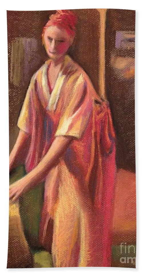 Woman Beach Towel featuring the pastel Passing Time by Wendy Koehrsen