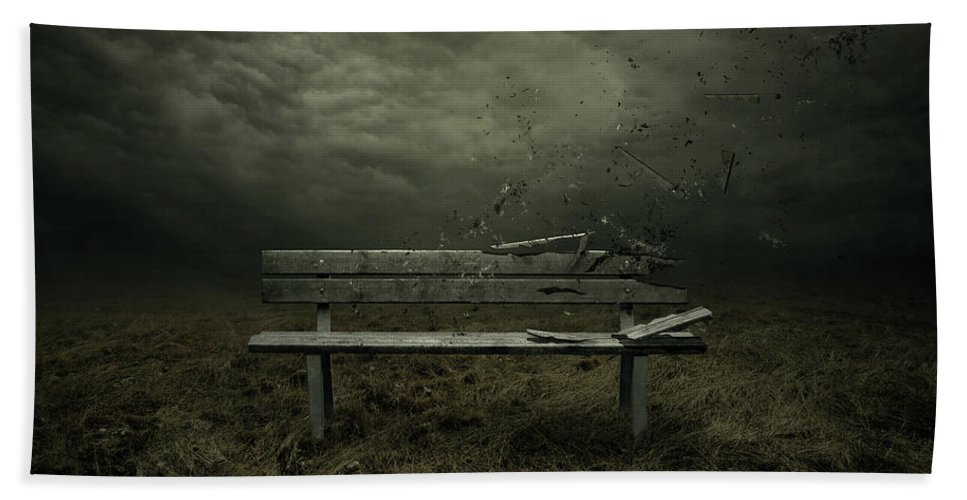 Bench Beach Towel featuring the digital art Passing by Zoltan Toth