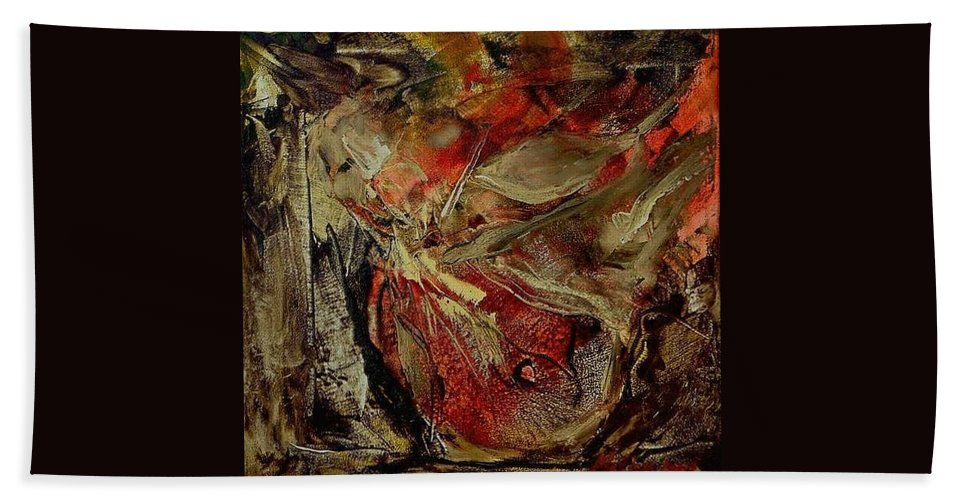 Abstract Beach Towel featuring the painting Passion  by Rome Matikonyte