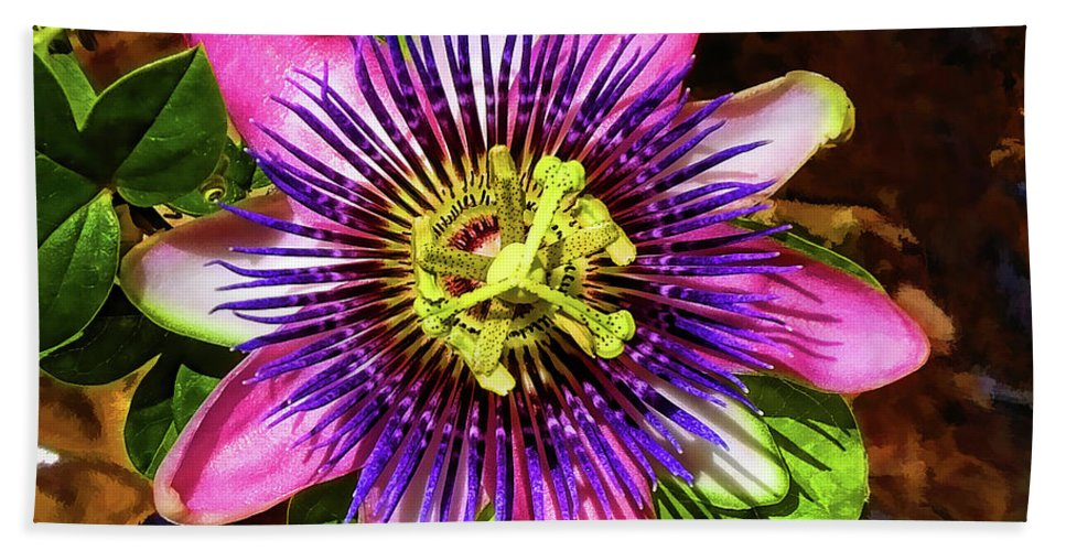 Unusual Lavender Flower Beach Towel featuring the photograph Passion Flower by Mariola Bitner