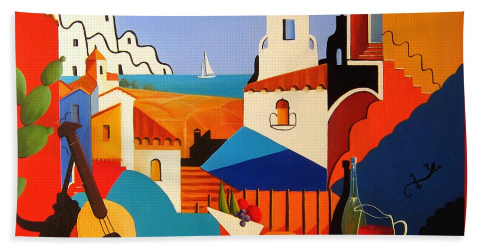 Passion For Life Beach Towel featuring the painting Passion For Life Spain by Ray Gilronan