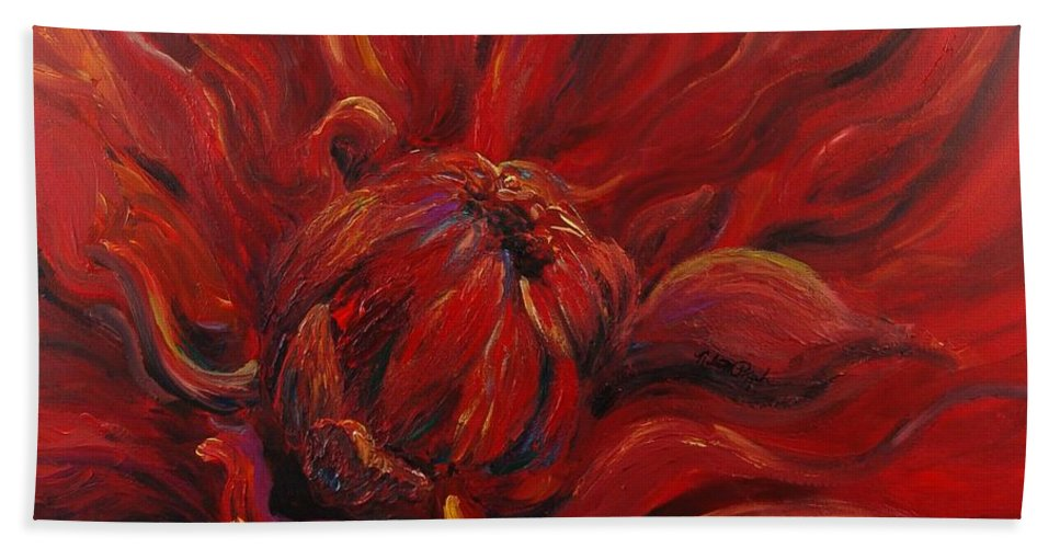 Red Beach Towel featuring the painting Passion II by Nadine Rippelmeyer