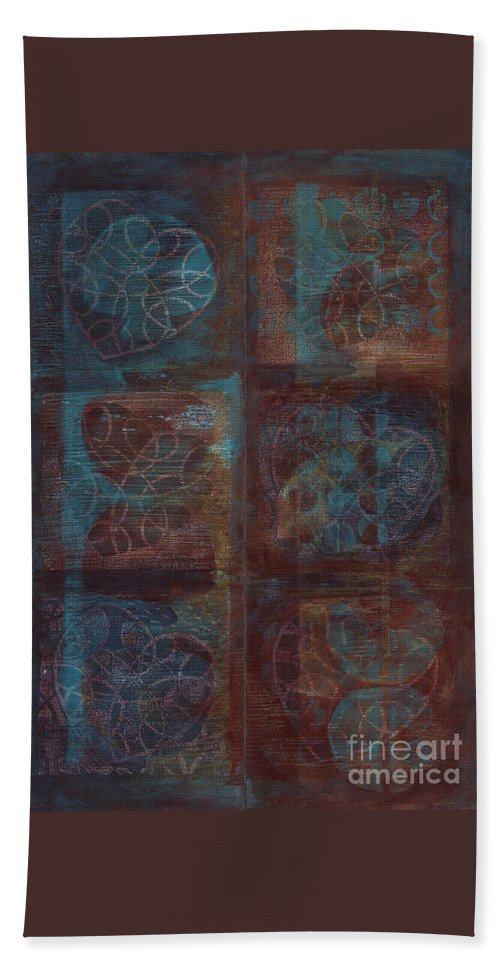 Australia Beach Towel featuring the painting Passion Play - Six Of Hearts by Kerryn Madsen - Pietsch