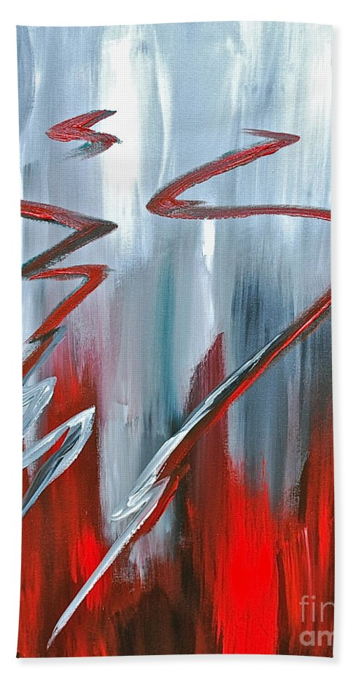 Abstract By Herschel Fall Red And Gray Beach Towel featuring the painting Passion Two by Herschel Fall