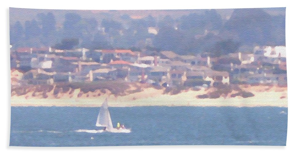 Sailing Beach Towel featuring the photograph Pastel Sail by Pharris Art