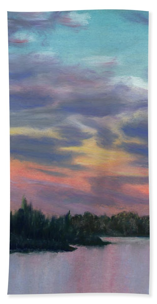 Landscape Beach Towel featuring the painting Pastel Sunset by Lynn Quinn