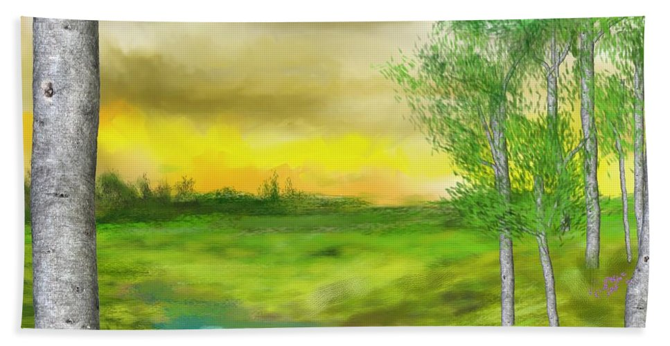 Landscape Beach Towel featuring the digital art Pastoral by David Lane