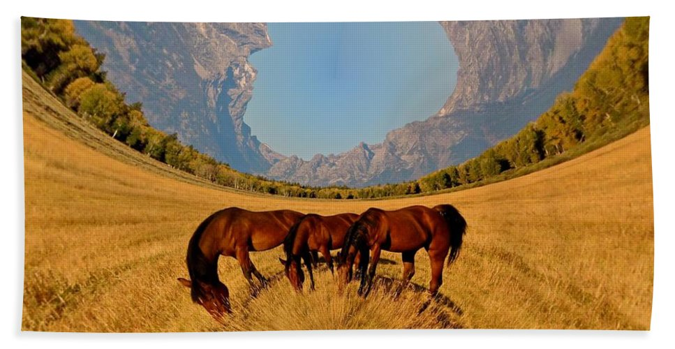 Horses Beach Towel featuring the photograph Pasture Of Another World by Richard L Gordon