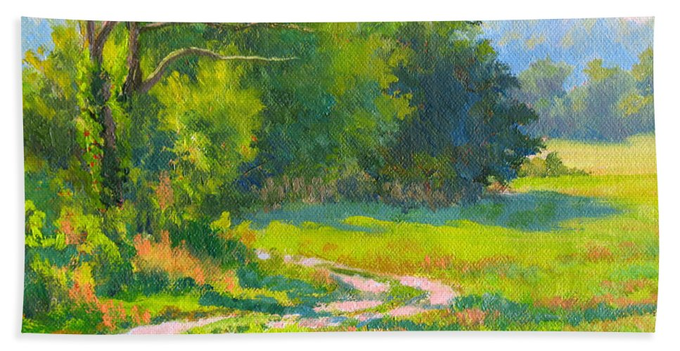 Landscape Beach Towel featuring the painting Pasture Road by Keith Burgess