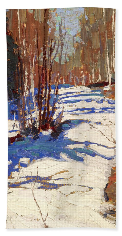 20th Century Art Beach Towel featuring the painting Path Behind Mowat Lodge by Tom Thomson