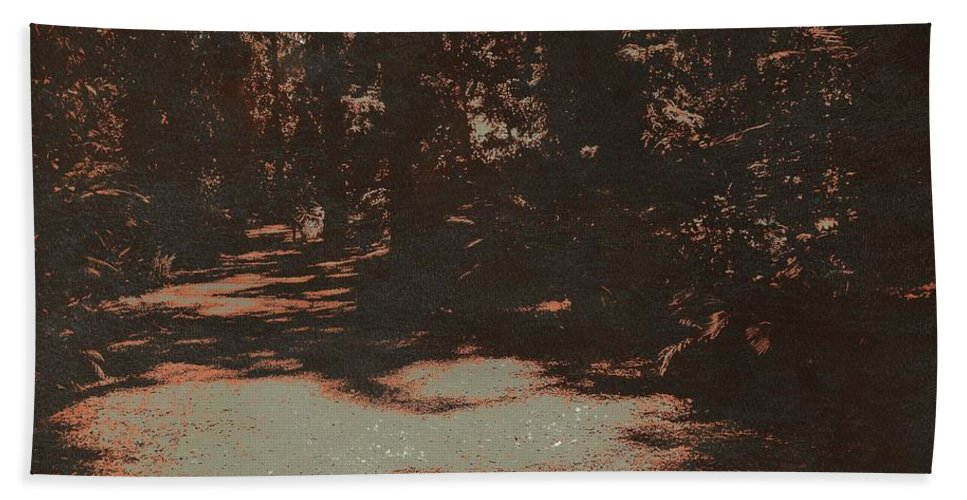 Landscape Beach Towel featuring the photograph Path In The Woods by Judith Kitzes