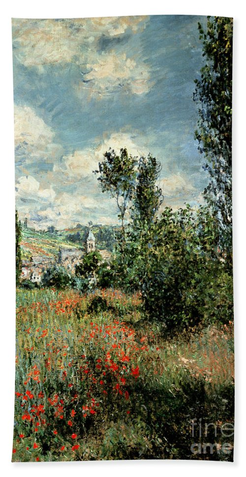 Path Beach Towel featuring the painting Path through the Poppies by Claude Monet
