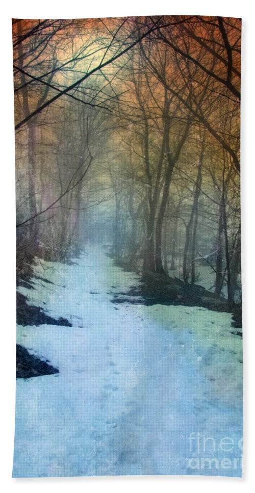 Path Beach Towel featuring the photograph Path Through The Woods In Winter At Sunset by Jill Battaglia