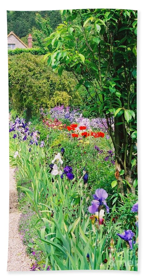 Claude Monet Beach Sheet featuring the photograph Path To Monet's House by Nadine Rippelmeyer