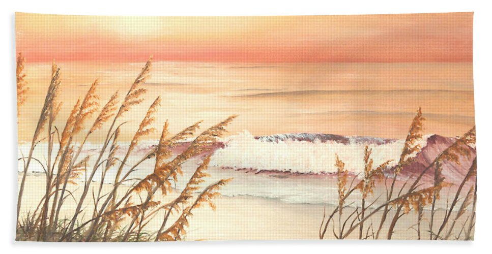 Nature Beach Towel featuring the painting Path To Sunlit Waters by Johanna Lerwick