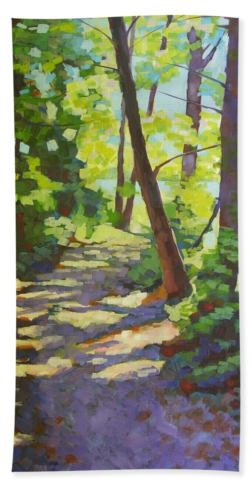 Landscape Beach Towel featuring the painting Path To The Lake by Mary McInnis