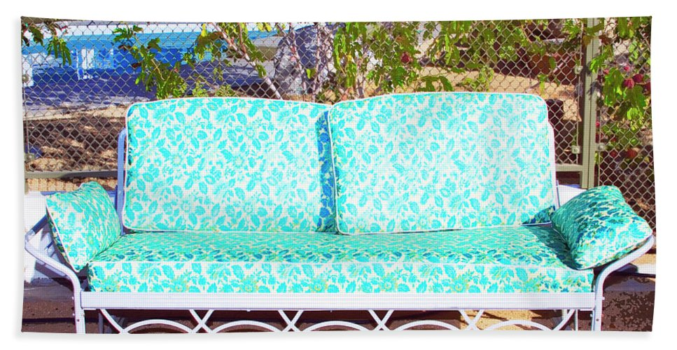 Patio Furniture Beach Towel featuring the photograph Patio Invitation Palm Springs by William Dey