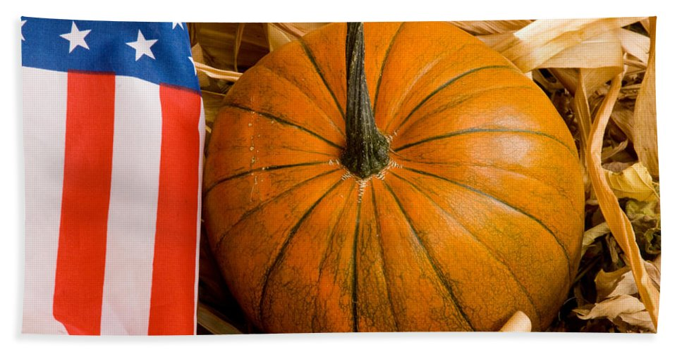 Pumpkin Beach Towel featuring the photograph Patriotic American Pumpkin by James BO Insogna