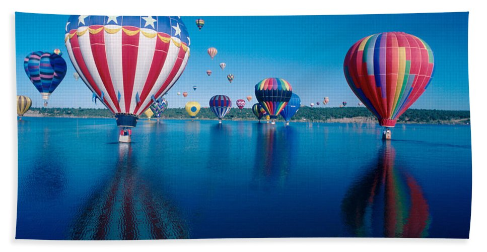 Hot Air Balloons Beach Towel featuring the photograph Patriotic Hot Air Balloon by Jerry McElroy