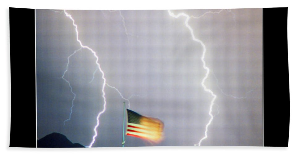 Lightning; Lightening; American Flag; Usa; Americana; Storm; Nature Beach Towel featuring the photograph Patriotic Storm - Poster Print by James BO Insogna