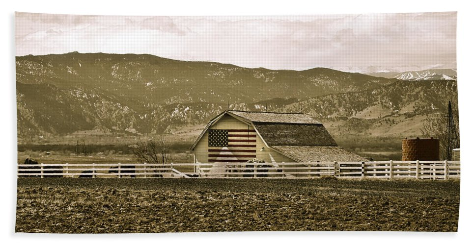 Americana Beach Towel featuring the photograph Patriotism And Barn by Marilyn Hunt