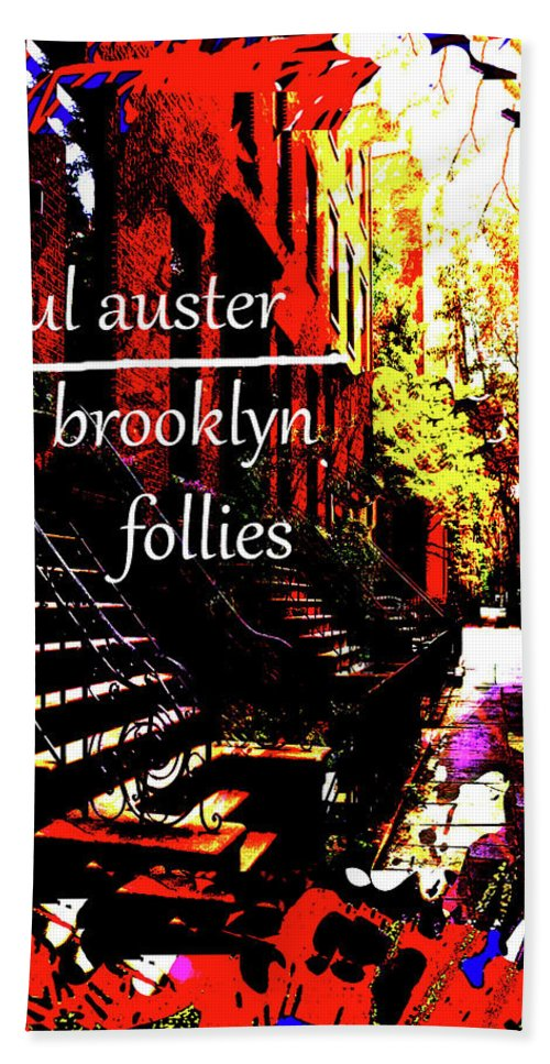 Paul Auster Beach Towel featuring the mixed media Paul Auster Poster Brooklyn by Paul Sutcliffe