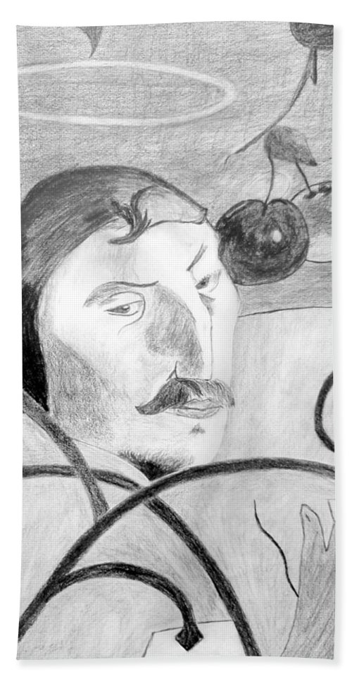 Pencil Beach Towel featuring the drawing Paul Gauguin by Jamie Frier