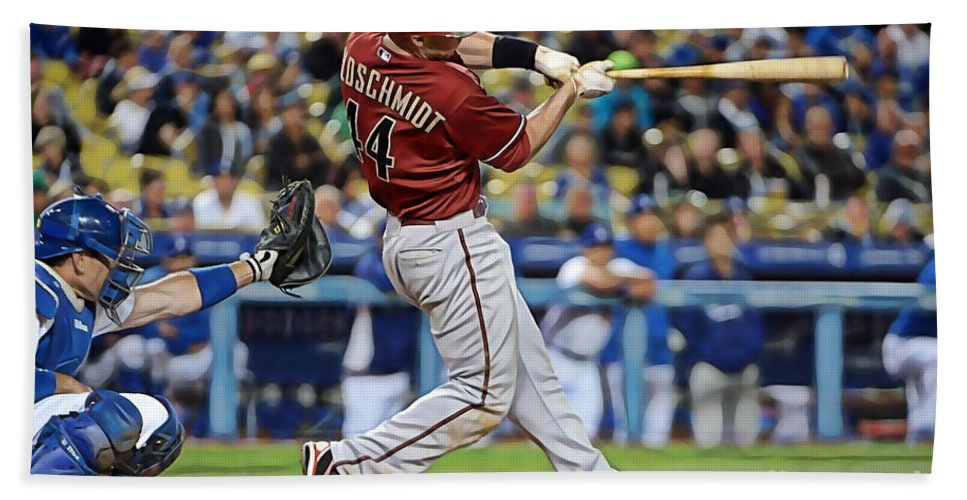 Home Art Beach Towel featuring the mixed media Paul Goldschmidt by Marvin Blaine
