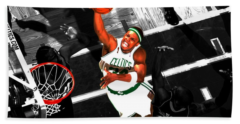 Paul Pierce Beach Towel featuring the mixed media Paul Pierce In The Paint by Brian Reaves