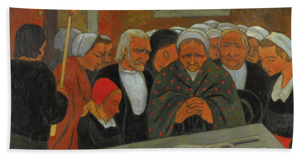 Girl Beach Towel featuring the painting Paul Serusier 1864 - 1927 Devotion To S. Herbot Forgiveness by Artistic Rifki