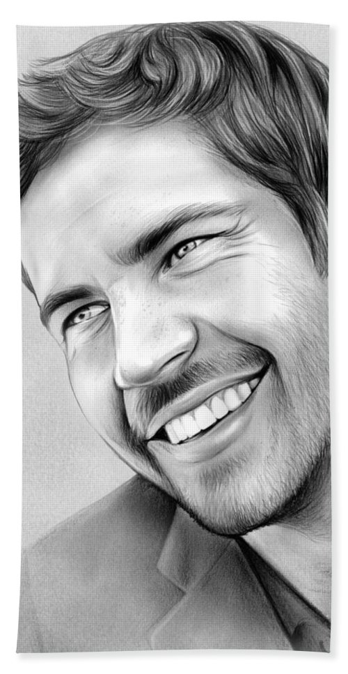 Celebrity Beach Towel featuring the drawing Paul Walker by Greg Joens