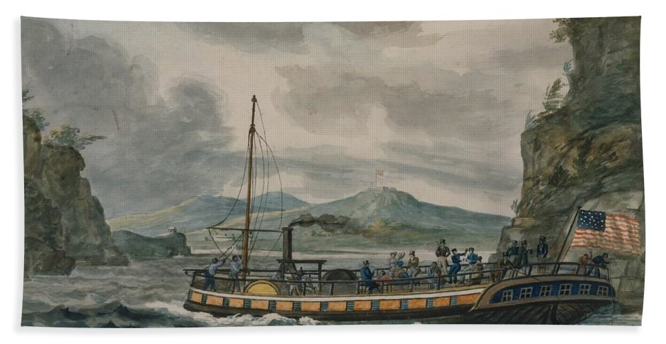 Art Beach Towel featuring the painting Pavel Petrovich Svinin, 1787 -1839, Steamboat Travel On The Hudson River by Artistic Rifki