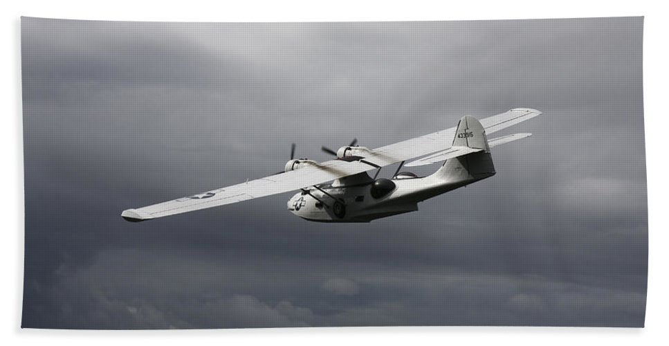 Transportation Beach Towel featuring the photograph Pby Catalina Vintage Flying Boat by Daniel Karlsson