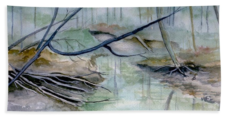 Landscape Beach Towel featuring the painting Peace And Tranquility by Brenda Owen