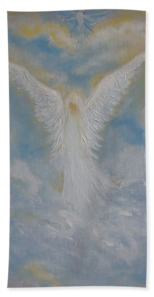 Angel Beach Towel featuring the painting Peace From An Angel by Leslie Allen